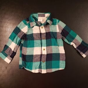 Little Boys Long Sleeve Plaid Button Up Shirt